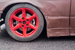 Red drifting car rim stock images