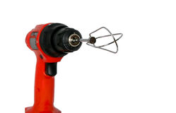 Red drill with blender bit Stock Photography