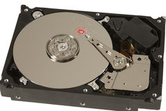 Red drill hole in hard disk platter Royalty Free Stock Images