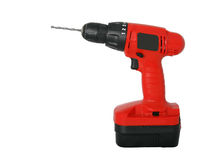 Red drill profile. Profile of a red cordless drill and bit Royalty Free Stock Photos