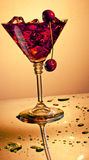 Red drink with cherries Royalty Free Stock Photos