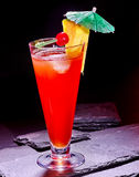 Red  drink  with cherry and pineapple  79 Royalty Free Stock Photo