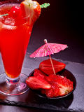 Red  drink  with cherry and pineapple  80 Royalty Free Stock Photos