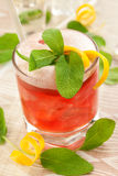 Red drink with decoration sage Royalty Free Stock Images