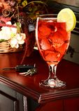 Glass of drink on table royalty free stock photography