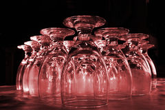 REd Drink Glasses. Drink glasses colorized Red for effect Stock Photo