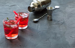 Red drink with ice. Cocktail making bar tools, strawberry and thyme leaves Royalty Free Stock Photos