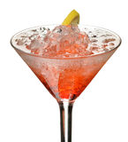 Red drink with ice and lemon isolated over white. Studio stock photo