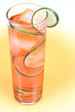 Red drink with lime. And ice Stock Images