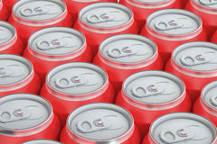 Red drink metallic cans, top view Royalty Free Stock Photos