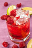 Red drink with raspberries Royalty Free Stock Photography