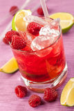 Red drink with raspberries and ice Stock Images