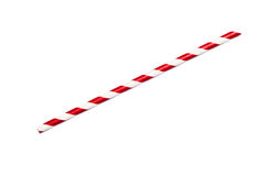 Red drinking straw. A single red drinking straw in retro style with red and white stripes on white background Royalty Free Stock Photography