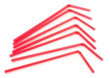 Red drinking straws royalty free stock image