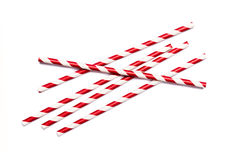 Red drinking straws Stock Photos
