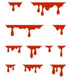 Red dripping paint, on white background stock illustration