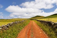 Red driveway in a hilly landscape royalty free stock photos