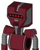 Red Droid With Mechanical Head And Speakers Mouth And Visor Eye. Portrait style Red Droid With Mechanical Head And Speakers Mouth And Visor Eye stock illustration