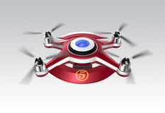 Red drone, a quadrocopter for racing on gray background vector illustration