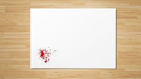 Red drop splatter stain art paint on white paper royalty free stock images