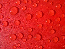 Red drops of water. Drops of water in red waterproof material Stock Image