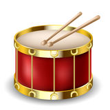 Red drum and drumsticks Stock Photos