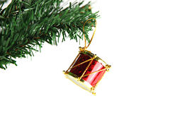 Red Drum hanging on branch Christmas tree. Royalty Free Stock Photos