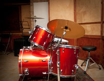 Red drum instrument in studio Royalty Free Stock Image
