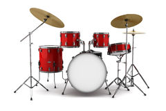 Red drum kit isolated on white Royalty Free Stock Image
