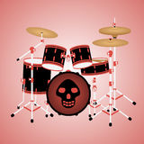 Red drum kit with a skull Stock Photo