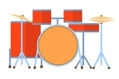 Red drum set on white background bass tom-tom ride cymbal crash hi-hat snare stands Flat design Vector Illustration. EPS Royalty Free Stock Images