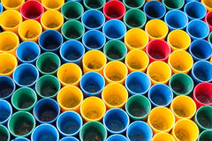 Top view of primary colors of mix color cups for artist painting. stock image