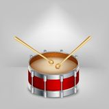 Red drum and wooden drumsticks. Vector Stock Images