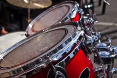 Red drums. Detail of red drums on stage during a concert royalty free stock photography