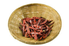 Red dry chili. Group of red dry chili on wooden basket Stock Photos