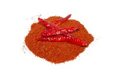 Red dry Chili pepper on white background stock photos
