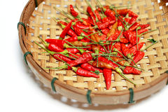 Red dry chilli in bamboo basket on white background. Red dry chilli in basket on white background Stock Images