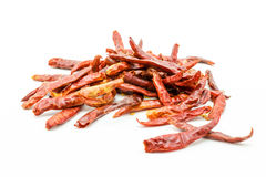 Red dry chillies isolated on white background Royalty Free Stock Photos