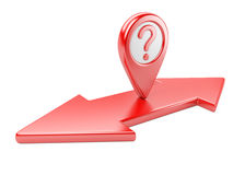 Red dual  direction arrow with question symbol and Map pointer Royalty Free Stock Images