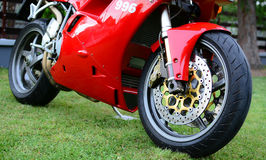 Red Ducati 996s motorcycle Royalty Free Stock Images