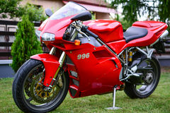 Red Ducati 996s motorcycle Stock Photo