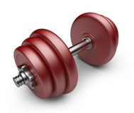 Red dumbbell. 3D Icon  on white Stock Photos
