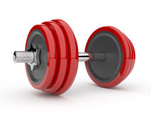 Red dumbbell 3D. Isolated on white background Stock Photography