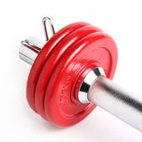 Red dumbbell plates. Close-up view of a red dumbbell isolated on a white background royalty free stock photography