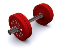 Red dumbbell on a white background Royalty Free Stock Photography