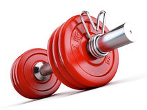 Red dumbbell  on white background Royalty Free Stock Images