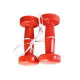 Red dumbbell on white Stock Photography