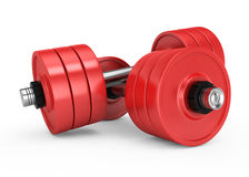 Red dumbbells Royalty Free Stock Image
