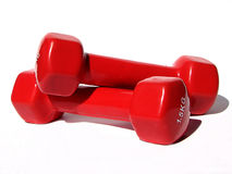 Red dumbbells Royalty Free Stock Photography