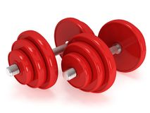 Red Dumbbells Royalty Free Stock Images